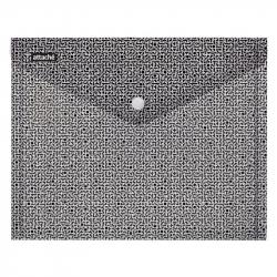 Папка-конверт Attache Confidence на кнопке А4 черная/белая 0.18 мм