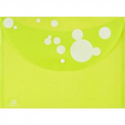 Папка-конверт Attache Круги на кнопке А4 салатовая 0.18 мм