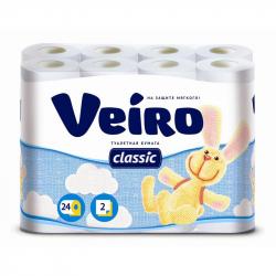 Бумага туалетная Linia VEIRO Classic 24рул/уп 5с224 2сл. бел