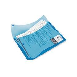 Папка конверт на кнопке двойной, карман д/визитки, синий