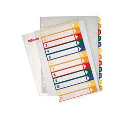 Разделитель листов 12 цв. пластик ESSELTE прозрачный титульный лист