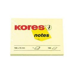 Бумага для заметок Kores (желтая, 100 -75мм, 100 листов)
