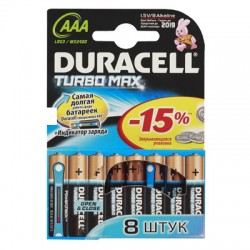 Элементы питания батарейка DURACELL Turbo Max AAA/LR03 алкалин. бл/8