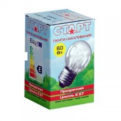 Лампа накаливания Старт, шарик, прозрачная, 60Вт, цоколь E27