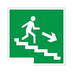 E13 Направление к эвакуац.выходу по лестнице вниз, правосторонний (плёнка ПВХ, ф/л, 200х200)