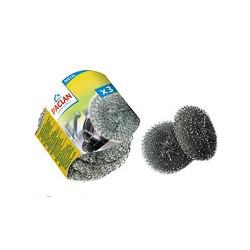 Губка для мытья посуды Paclan для удаления пригоревших жиров, метал., 3шт/уп