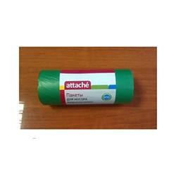 Пакеты для мусора Attache биоразл. 30л, 50*60, 10 мкм, НД, зел. 30 шт./рул.