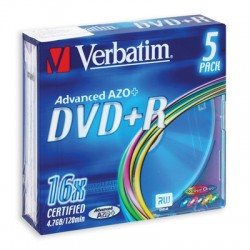 Носители информации Verbatim DVD+R Color43556