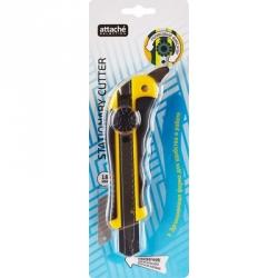 Нож канцелярский Attache 18 мм с резиновыми вставками, роликовым фиксатором