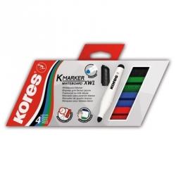 Набор маркеров для досок Kores 20843, 3 мм, 4 шт.