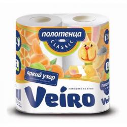 Полотенца бумажные Linia Veiro Classic с цветным тиснением двухслойные (2 рулона по 12,5 метра)