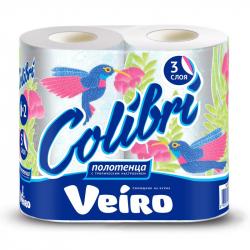 Полотенца бумажные Veiro Colibri с цветным тиснением трехслойные (2 рулона по 12,5 метра)