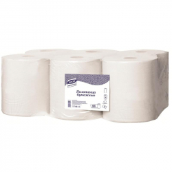 Полотенца бумажные в рулонах Luscan Professional 1-слойные 6 рулонов по 280 метров