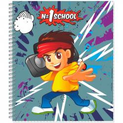 Тетрадь общая №1 School Мальчик-аниме А5 80 листов в клетку на гребне