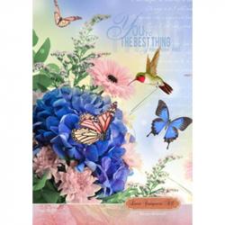 Блокнот Проф-пресс Букет и колибри А4 80 листов цветной в клетку твердый переплет (290х210 мм)