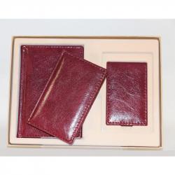 Набор недатированный Attache Марта бордовый (ежедневник, записная книжка, визитница)