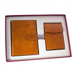 Подарочный набор Денвер(кожа, коричневый, визитница и портмоне)