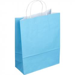 Пакет из крафт-бумаги Сумка голубая 25x11x32 см
