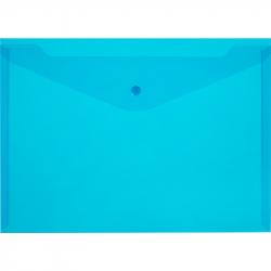 Папка-конверт на кнопке А4 синяя 0.18 мм (10 штук в упаковке)