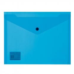 Папка-конверт на кнопке А5 синяя 0.18 мм (10 штук в упаковке)