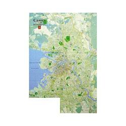 Карта С-Петербурга 160х110 основа ДВП в алюминиевой раме