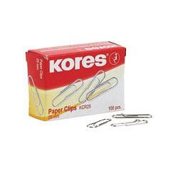 Скрепки стальные Kores KCR-25 (25мм, круглые, никелированные, 100шт./уп.)