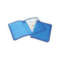 Папка на молнии пластиковая прозрачно- синяя А4