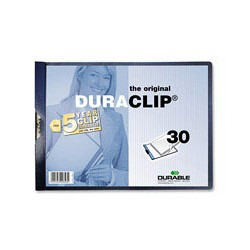 Папка с клипом Durable, горизонтальная А4 30 листов, синяя