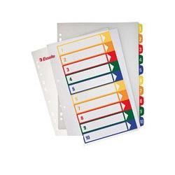 Разделитель листов 10 цв. пластик ESSELTE прозрачный титульный лист