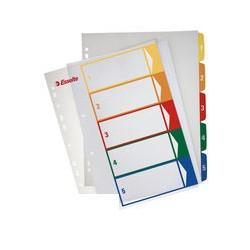 Разделитель листов 5 цв. пластик ESSELTE прозрачный титульный лист