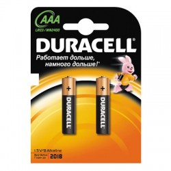 Батарейки Duracell AAA/286/LR03, 1.5В, алкалиновые, 2 шт. в блистере