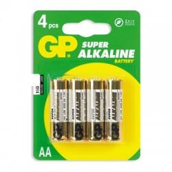 Батарейки GP Super AA/316/LR6, 1.5В, алкалиновые, 4 шт. в блистере