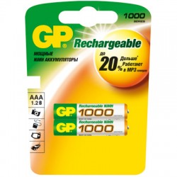 Аккумулятор GP 1000mAh AAA/286/HR03 NiMH 2шт. в блистере