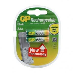 Элементы питания Аккумулятор GP 650mAh AAA/LR03 NiMh (2 шт/бл)