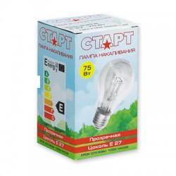 Лампа накаливания Старт, стандартная прозрачная, 75 Вт, цоколь E27
