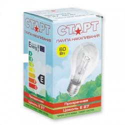 Лампа накаливания Старт, стандартная прозрачная, 60 Вт, цоколь E27