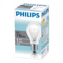 Лампа накаливания Philips, стандартная прозрачная, 60Вт, цоколь E27
