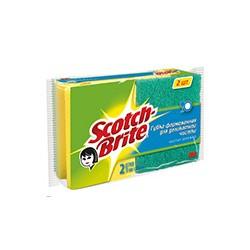 Губка абразивная 3М Scotch-Bri для деликатной чистки с выемкой для пальцев, 2шт/уп