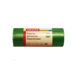 Пакеты для мусора Attache биоразл. 100л, 65*105, 20 мкм, НД, зел. 20 шт./ру