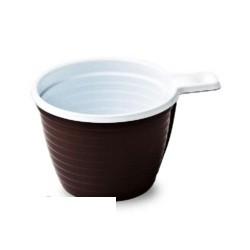 Чашка одноразовая хол/гор, коричн./бел. (ПП, 0,18л, 50шт/уп)