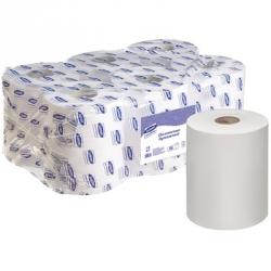 Полотенца бумажные в рулонах Luscan Professional 1-слойные 6 рулонов по 300 метров (с перфорацией)