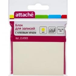 Стикеры Attache 76x76 мм желтые пастельные 100 листов