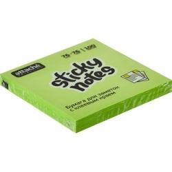 Стикеры клейкие Attache Selection 76x76 мм зеленые неоновые 100 листов