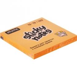 Стикеры клейкие Attache Selection 76x76 мм оранжевые неоновые 100 листов