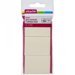 Стикеры Attache 38x51 мм желтые пастельные 3 блока по 100 листов