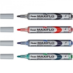 Набор маркеров для досок Pentel MWL5S-4N + губка, 4 мм, 4 шт.