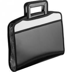 Папка-портфель Attache пластиковая А4+ черная/серая (275x350 мм, 5 отделений, с выдвижными ручками)