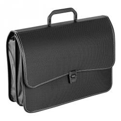 Папка-портфель Attache пластиковая А4+ черная (280x370 мм, 2 отделения)