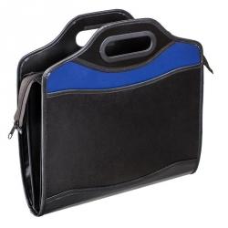 Папка-портфель Attache Шелк пластиковая А4+ черная/синяя (280x350 мм, 4 отделения)