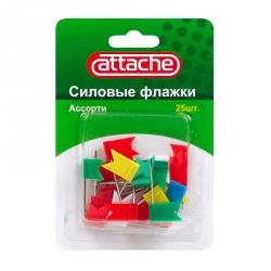 Кнопки силовые Флажки ассорти, 24 мм, 25 штук в упаковке, Attache